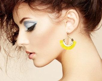Half moon earrings-Yellow silk tassel earrings- Moon Earrings -Tribal Jewelry Hoop Earrings-Turkmen -coachella Jewelry-Boho chic-Bohemian