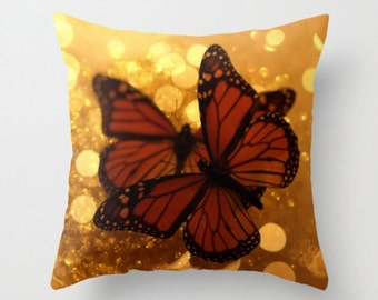 Monarch Butterfly Pillow Cover Photograph Butterfly Print Woodland Scene Autumn Fall Orange Earth Tones Insect Entomology Wings