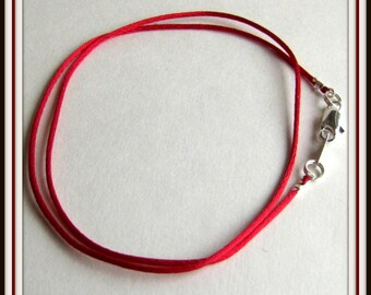 12 - 24 inch Red Satinique Necklace Cord, Choker, Charm Cord, Pendant Cord. 1 mm cord. Silver ,gold, antique brass lobster, Red Cord, Custom