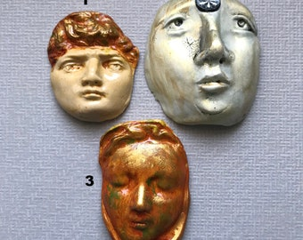 3 Polymer Clay Molded Faces