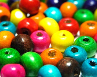 100x Small Abacus Round Wooden Beads 6 mm - Mixed Colours