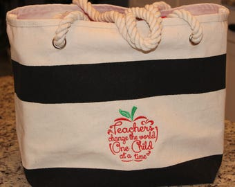 Monogrammed Tote Bag with Rope Handle --  Great Gift for Teacher!!!