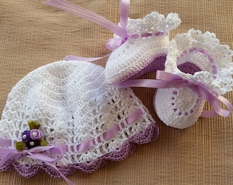 Preemie Baby Hat and Booties, Crochet Baby Hat and Booties, Victorian Preemie Baby Girl or Reborn Doll Lavender Flowers, Baby Shower Gift