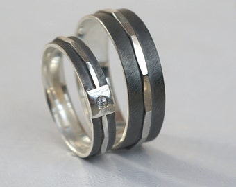 Textured - His and Hers Wedding Bands, Set of Matching Rings in Oxidized Sterling Silver