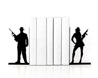 Gangster bookends Bonnie and Clyde Gift for men Man cave Book ends Bookworm for him Book lover gifts Home decor Gun gifts Partners in crime
