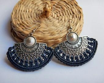 sun earrings, tribal earring, fan earrings, navy blue earrings, makrame earrings, macrame earrings, ethnic earrings, hippie earrings