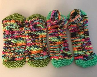 Crocheted slipper socks