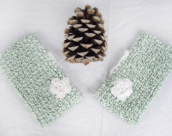Knitted Fingerless Mitts, Mint Green Wool with black fleck, flower motif detail.