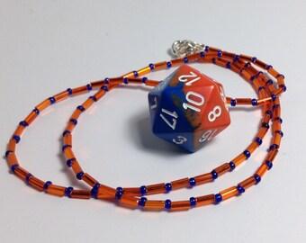 Orange/Blue D20 necklace