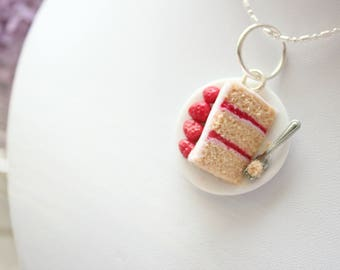Cake Pendant -- Polymer Clay Necklace  -- Strawberry Cake Necklace -- Polymer Clay Charm -- Tiny Food