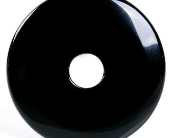 g2722  Black agate donut pendant focal bead 50mm