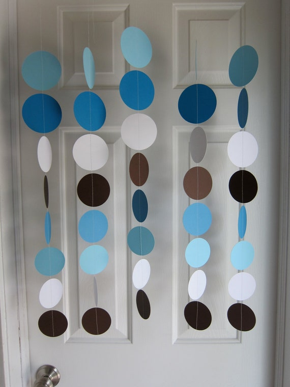 Baby Blue And Brown Bathroom Set: Paper Garland Blue Brown And White Circles Dangling
