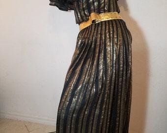 FREE  SHIPPING   Vintage Metallic Chiffon Gown