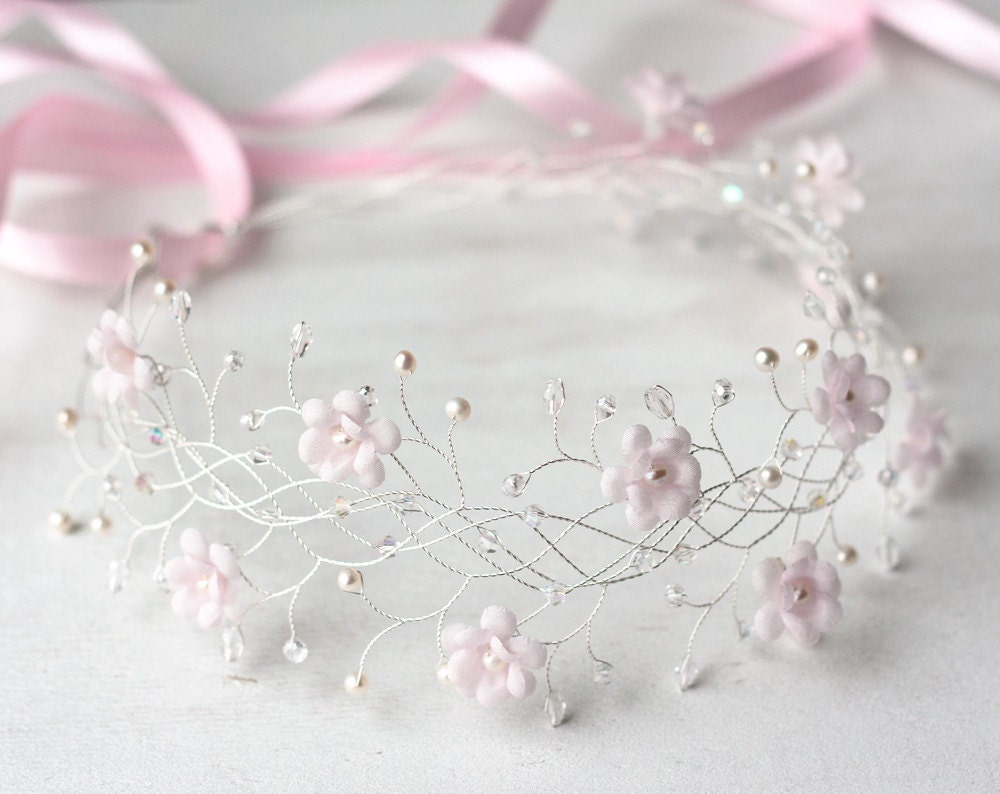 31 pink flower crown bridal crown wedding crown pink bridal zoom izmirmasajfo Choice Image