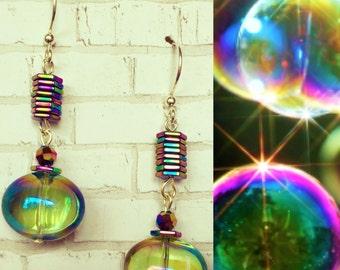 Iridescent Soap Bubble Earrings