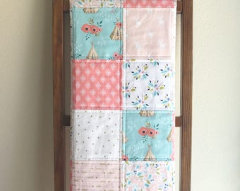 Modern Tribal Baby Quilt, Peach, Coral, Mint and Aqua Nursery Bedding, Teepee, Arrows, Deer and Floral Blanket, Baby Bedding