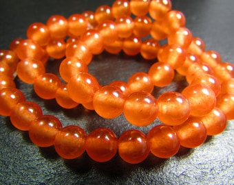 Set of 10 Jade beads-orange