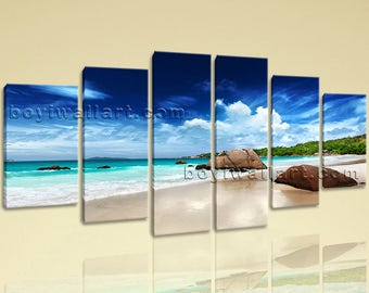 Extra Large Seascape Print Beach Hd Photography Wall Art Dining Room 6 Pieces, Extra Large Beach Wall Art, Dining Room, Jet Stream