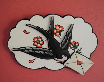Swallow with Letter and Cherry Blossoms, Old School