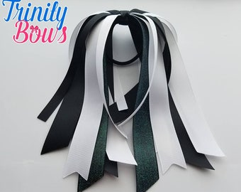 Black and White - Ponytail Streamer - Glitter - Black - White