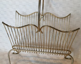 Vintage Magazine Rack Brass Gold Tone Metal - Hollywood Regency Mid Century