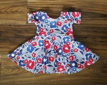 4th of july dress, 4th of july outfit, 4th of july clothing, red floral dress, floral baby dress, blue floral dress, striped floral dress