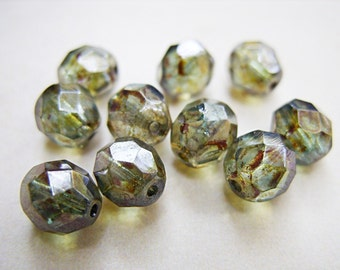 Luster Green Czech Crystal Beads - 8MM -B-6508