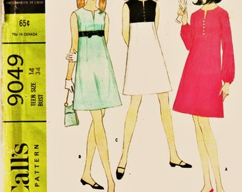 60's McCall's Pattern 9049 Empire Waist Dress Bust 34 Uncut FF Adorable MOD Dress Sewing Pattern Supplies