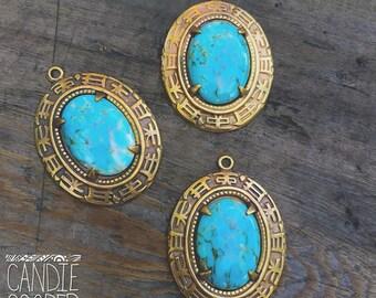 Vintage Turquoise Glass Cab Brass Pendant - DIY Jewelry