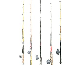8x10 - fishing rods watercolor giclee print