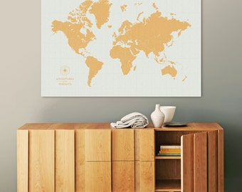 Push Pin Travel Map, World Map Push Pin, Pin Map, Custom Map, World Travel Map, World Map Canvas, Push Pin Map, Large World Map, Vintage Map