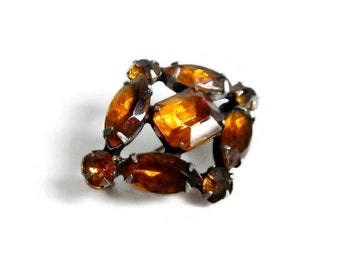 Vintage Faux Amber Rhinestone Brooch Pin - diamond shape, jewelry-making, whimsical, retro, costume jewelry, dressy, scarf pin,working clasp
