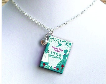 Little Women - With Tiny Heart Charm - Miniature Book Necklace