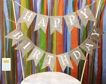 Happy Birthday Banner, Cake Topper, Birthday Cake Topper, Personalized Cake Topper, Birthday Banner, Burlap Bunting, Cake Topper