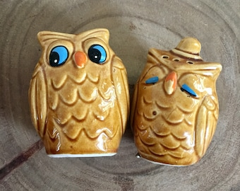 What a Hoot Owl Salt & Pepper Shakers / Vintage / Anthropomorphic