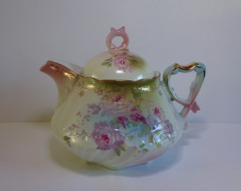 Vintage Porcelain Teapot with Roses and Gold Highlights - Excellent!
