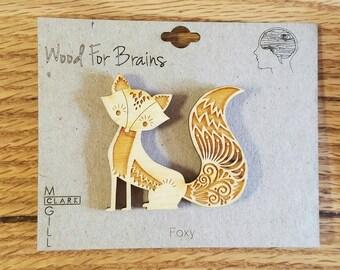 Fancy Foxy - laser cut wood pin