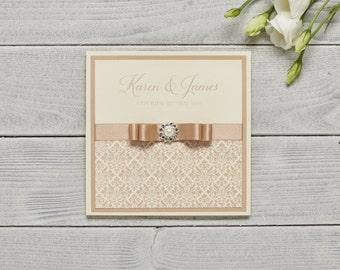 Damask Wedding Invitation, SAMPLE, Pocketfold, Pearl and Crystal Embellishment, Ribbon