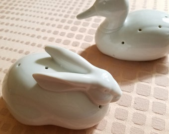 Set of two porcelain pomander animal sachets bunny rabbit and duck ceramic statue potpourri fragrance for drawer air freshener made in Japan