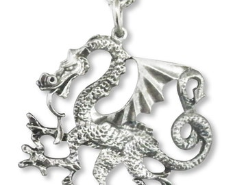 Classic Dragon Pendant Necklace Silver Finish Pewter NK-9