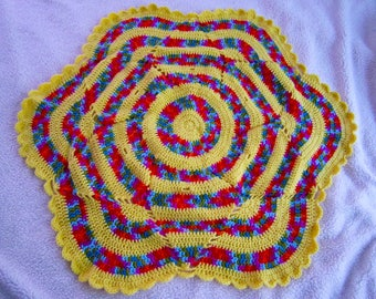 Handmade crochet yellow & red, green, blue, orange, purple flower blanket/afghan/throw/lapghan with scalloped border - READY TO SHIP