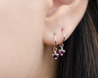 Purple Garnet Dangle Earrings, Sterling Silver, Gold Plated, Pendulum Earrings, Minimalist Drop Earrings, January Bithstone, Gift, DGE001PGR
