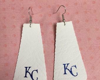 KC Kansas City Royals faux leather earrings