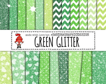 "Glitter digital paper ""GREEN GLITTER"" with colorful glitter backgrounds, glitter textures in green colors (1023)"