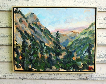 "Cascades Valley, Washington, Plein Air Landscape Oil Painting, 14x18"""
