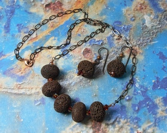 Lava Flow necklace and earring set - brown lava and fire opal swarovski crystals on copper - rustic -Volcanic stone- free shipping