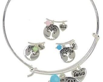 tree of life bangle, family tree bracelet, bangle bracelet, tree of life, silver bangle, stackable bangle, gift for mom, charm bracelet
