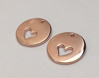 2 pc rose gold heart charm, heart cut out charm, jewelry supplies B37-R1