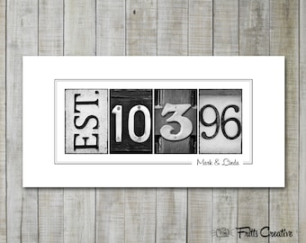Anniversary Date Print, Est Date Print, UNFRAMED, wedding gift, established date print, alphabet photography