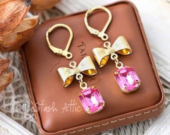 DIY Earrings Kit Pendants Jewellery Making Kit Includes Goldplated Bows, Pink Swarovski Rhinestone Drops and Earrings Components